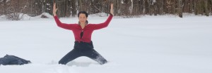 Deviasana, Goddess, in the snow